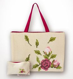 Luca-S Bag With a Purse Counted Cross-Stitch Kit - Herrschners Beaded Cross Stitch, Simple Cross Stitch, Counted Cross Stitch Kits, Cross Stitch Flowers, Cross Stitch Patterns, Embroidery Bags, Silk Ribbon Embroidery, Plastic Canvas Stitches, Crochet Christmas Ornaments