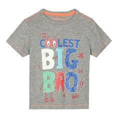 bluezoo Boys' grey 'I am the coolest big bro' t-shirt   Debenhams