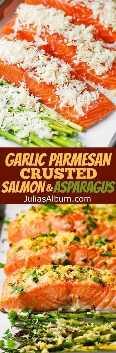 Garlic Parmesan Crusted Salmon and Asparagus - easy, healthy, gluten free dinner (seafood, fish recipes) (healthy fish recipes) Baked Salmon Recipes, Fish Recipes, Seafood Recipes, Recipies, Sweet Recipes, Parmesan Crusted Salmon, Garlic Parmesan, Fish Dinner, Seafood Dinner