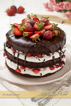 Chocolate and strawberry cake recipe Sweet Recipes, Cake Recipes, Dessert Recipes, Campfire Cake, Delicious Desserts, Yummy Food, Party Food Platters, Torte Cake, Food Crush