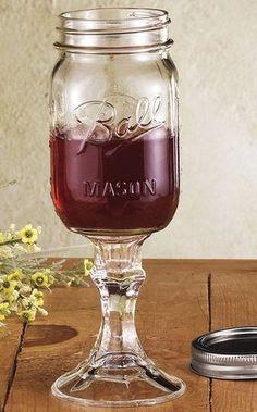 Mason Jar Wine Glass: Ha Ha! Just the way I like it, totally country!!