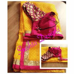 Yellow saree with with blouse with embroidered sleeves