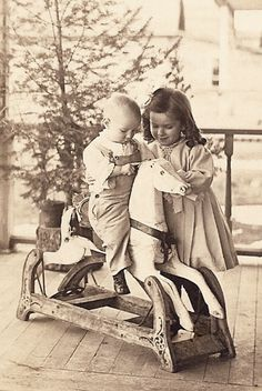+~+~ Vintage Photograph ~+~+ Siblings and their beautiful wooden rocking horse