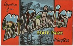 "This vintage linen postcard, circa 1940s, features various landmarks in and around Mt. Rainier State Park in Washington. The back of the postcard has the key to the views in each letter: M - Mirror Lake and Mt. Rainier / T - Black Bear / R - Trout Fishing in a Mountain Stream / A - Mountain Goat / I - Rhododendron, Washington State Flower / N - The Tatoosh Range from Paradise Valley / I - Totem Pole, Pioneer Square, Seattle / E - Trail Riders / R - """" (Trail Riders)"