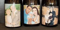 Etched and hand painted 3 liter wine bottles for a Wedding and two Baby announcements. www.candicenorcrossdesign.com.