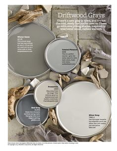 Coastal Pleasure looks great as long as it's not too blue - Driftwood Grays +The Top 30 Paint Colors - Better Homes And Gardens Featured Paint Shades Colour Schemes, Color Combos, Neutral Paint Colors, Gray Accent Colors, Copper Paint Colors, Grey Purple Paint, Silver Grey Paint, Rustic Paint Colors, Yellow Paint Colors
