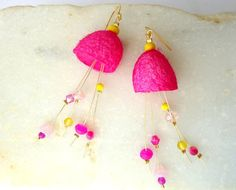 Fuchsia Pink-Bright Yellow cocoon earrings/hot pink/eco friendly jewelry/OOAK earrings/lemon yellow/sunshine yellow/canary yellow