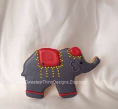 12 Circus Elephant Sugar Cookies - Circus Birthday Party Favor by The Sweetest Thing Designs & Events