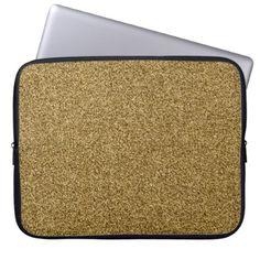 Gold faux glitter laptop sleeve - glitter glamour brilliance sparkle design idea diy elegant
