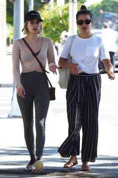 55032e179bd7d3 Lea Michele With Emma Roberts August 17