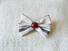 Handmade bow with fused red brooch pin