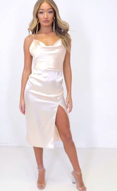 Order the Meggan Grubb Pink Satin Cowl Neck Midi Dress from In The Style. Gold Satin Dress, Satin Skirt, Satin Dresses, Model Outfits, Dress Outfits, Fashion Outfits, Hot Dress, Dress Skirt, Silky Dress