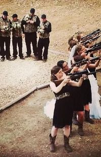 """Country camo wedding with guns!! love everything about this picture.. outfits and """"picture"""""""""""