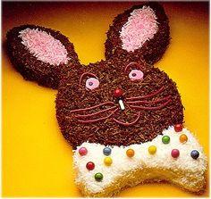 JUNIOR WEB recette de gâteau en forme de tête de lapin. Recettes de fantaisies pour souligner un anniversaire ou pour la fête de Pâques. Recette facile et amusante.
