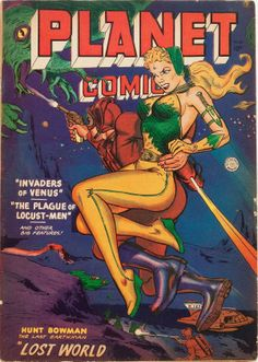 Vintage Sci Fi Poster Planet Comics Invaders of Venus Comic Book Plus, Comic Book Covers, Science Fiction Books, Pulp Fiction, Sci Fi Books, Comic Books Art, Planet Comics, Sci Fi Comics, Marvel