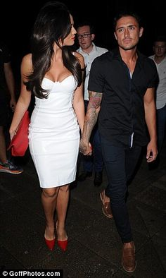 Date night: Vicky Pattison hoped to rival Danielle in the bust stakes as she too slipped on a boob-baring frock as her boyfriend Stephen Bear joined her on the Essex night out