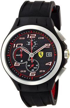 Ferrari 830015 Scuderia Lap-Time Mens Watch - Black Dial