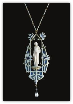René Lalique. Ivory, enamel and diamond pendent necklace circa 1906. The central carved ivory female figure set within a frame of polychrome enamel in shades of blue and lavender, decorated with floral motifs, supporting a baroque cultured pearl drop surmounted with rose and single-cut diamonds, on a chain of enamelled baton-shaped links, length approximately 465mm, pendant signed Lalique.