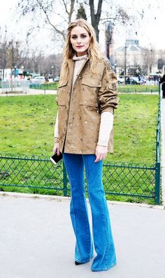 Utility Jacket + Turtleneck + Flared Jeans + Ankle Boots