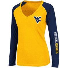 West Virginia Mountaineers Ladies Sequoia Long Sleeve Raglan V-Neck T-Shirt - Gold/Navy Blue  #FanaticsSummerWishList