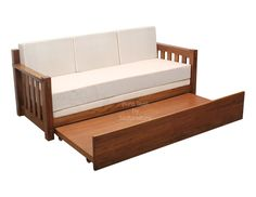 Classic style pull out sofa cum bed made in solid teak Sofa Bed Wooden, Sofa Come Bed, Sofa Bed Frame, Pull Out Sofa Bed, Futon Sofa Bed, Daybed With Trundle, Wood Sofa, Couch, Sofa Bed Brown