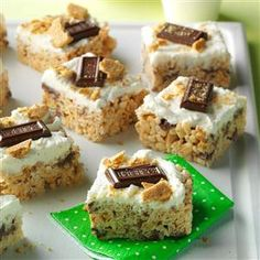S'mores Crispy Bars Recipe -My aunt always brought s'mores-style bars to our family's summer cottage. Plain or frosted, they're perfect for eating on the run. —Elizabeth King, Duluth, Minnesota