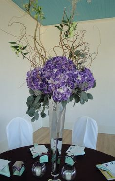 curly willow purple centerpieces -