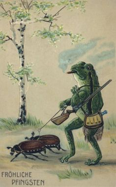 Postcard 1920...just hunter frog walking his beetles....nothing to look at here.(;