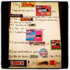 Candy poster for Sadie Hawkins girl ask boy dance.
