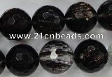 Faceted round black gold sand quartz beads $8.92