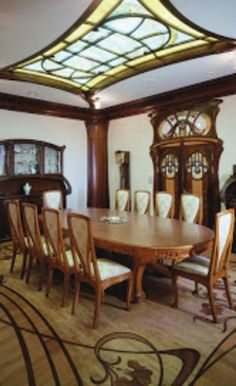 Stunning Art Nouveau Dining Room  I love all of it, but especially the stenciled floor