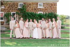 bridal party outdoor photos, Amana Festhalle barn wedding, late summer wedding, blush pink & gold wedding colors