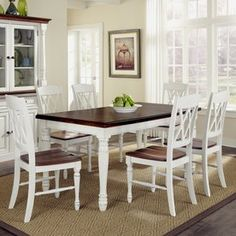 Home Styles Monarch White/Oak Dining Set with Table at Lowe's. The Monarch Rectangular Dining Table and Six Double X-back Chairs by Home Styles blends upscale design with functionality. This stylish dining set blends Farmhouse Kitchen Tables, Dining Room Chairs, White Dining Room Sets, White Dining Room, Dining Furniture, Kitchen Table Settings, Dining Table Chairs, Home Styles, Oak Dining Sets