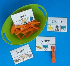 Engaging literacy centers for little learners that also enhance fine motor development.  $   #phonics  #vowels  #KampKindergarten  #literacycenters  #bossyR #Rcontrolledvowels  https://www.teacherspayteachers.com/Product/Vowel-WordPicture-Clip-Cards-2264473