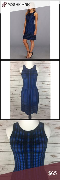 """Marc New York by Andrew Marc XS Dress Blue NWT Marc New York by Andrew Marc Sleeveless Jacquard Dress Blue & Black Check/Plaid Pattern Women's Size XS  New with tags - MSRP $128.00 80% Cotton / 20% Silk  Sleeveless Textured silk-blend jacquard fabric - stretchy Above knee length """"Blue Jay"""" & black  Measurements (in inches): Chest (armpit to armpit) - 15.5 Length (back of neck to bottom hem) - 34.5 Andrew Marc Dresses"""