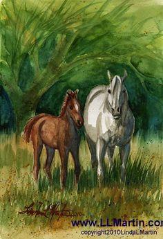 Horse Art Original Painting LLMartin Mare by LindaLMartinArtist, $125.00
