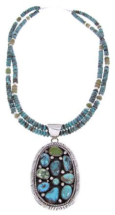 Navajo Indian Turquoise Necklace And Pendant Set GS62076
