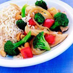 Peanut-Chicken Stir-Fry:  275 calories per serving