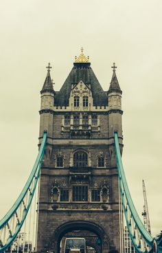 A closeup photograph of the famous Tower Bridge in London, UK.
