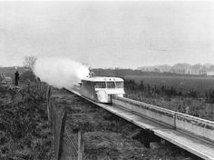 """The French rocket-boosted hover train unit, known as the """"aerotrain monorail"""", which set a new world speed record in 1967. (Photo by Express Newspapers/Getty Images)"""