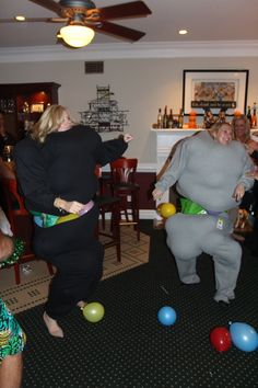 Get 3x sweats and put as many balloons in as possible  Great fun!