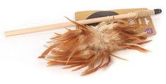 Natural Jolly Moggy Feather Teaser Tickler Play Tease Cat Kitten Toy with Catnip #Rosewood