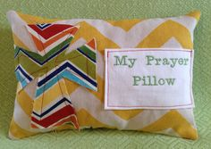 Prayer Pillow  With Fraying Cross & Prayer Pocket by MeAndMichelle, $12.00