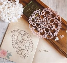 Photo Shuttle Tatting Patterns, Tatting Patterns Free, Hand Embroidery Patterns, Lace Patterns, Needle Tatting, Tatting Lace, Lacemaking, Some Ideas, Rosettes