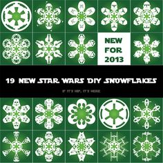 If It's Hip, It's Here: It's Snowing Star Wars Again! 19 New Star Wars DIY Snowflake Templates for 2013.