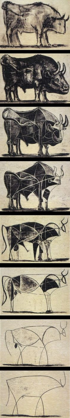 bulls - picasso Shows development I remember my arts teacher showing us this some years ago! So many ways to paint one thing Art Picasso, Picasso Drawing, Picasso Paintings, Guernica, Portraits Cubistes, Arte Latina, Cubist Movement, Art History, Art Drawings