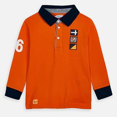 Long sleeved polo shirt with appliques for boy Coloring For Boys, Polo Neck, Carrot, Appliques, Cotton Fabric, Polo Shirt, Polo Ralph Lauren, Mens Tops, How To Wear