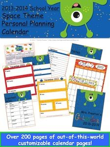 2013-2014 School Year Space Theme Personal Planning Calendar!  This calendar pack is over 200 pages and has been updated to include files from January 2013-June 2014!  This classroom theme is out of this world! It DOES include form fields so you can even use it completely offline and not even print if you choose! Of course you do also have the option to print, bind, and write in.  $