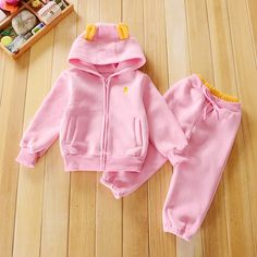 Buy Solid Full Sleeves Pink Hoodie and Pant Set online @ ₹770 | Hopscotch Baby Girl Fashion, Pink Fashion, Pantalon Costume, Baby Girl Winter, Boy Outfits, Hooded Jacket, Hoodies, Pants, Prince Clothing
