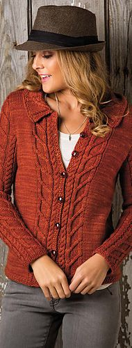 Knitting Pattern for Cable Panel Sweater - Long-sleeved cardigan with pretty cable patterns lining the front edges and echoed on the sleeves. Woman's X-small (small, medium, large, X-large) From Creative Knitting. More pics on Annie's tba Chunky Knitting Patterns, Knitting Ideas, Knit Patterns, Knit Cardigan Pattern, Creative Knitting, Cable Knit Sweaters, Cable Cardigan, Pullover, Cardigans For Women